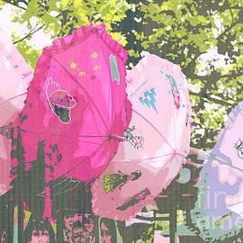 Pink Parasol Pop Art by Diann Fisher