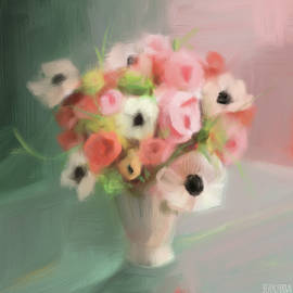 Pink Peonies And Poppies by Beverly Brown