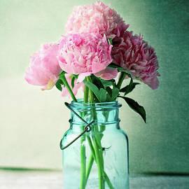 Pink Peonies in a Blue Antique Mason Jar by Stephanie Frey