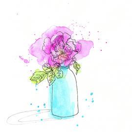 Pink rose stilllife doodle by Karen Kaspar