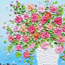 Pink Roses in a Vase by Jessica T Hamilton