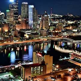 Pittsburgh Buildings and Lights from Above by Frozen in Time Fine Art Photography