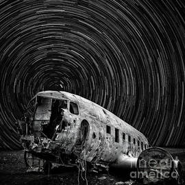 Plane Crash Star Trail Iceland by Edward Fielding