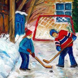 Grace Venditti - Players Face Off In Backlane Hockey Game Montreal Urban  Winter Scene Painting G Venditti Artist