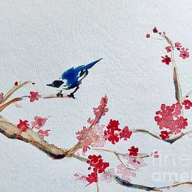 Plum Blossoms and Blue Bird  by Lavender Liu