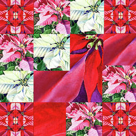 Poinsettia Christmas Quilt  by Irina Sztukowski