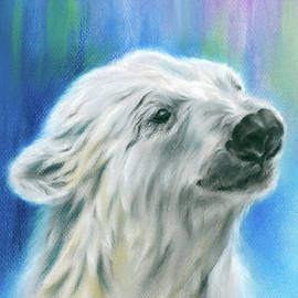 Polar Bear With Aurora by MM Anderson