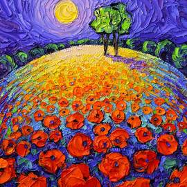 POPPIES ROUNDSCAPE FAIRY NIGHT textural impressionist impasto knife oil painting Ana Maria Edulescu by Ana Maria Edulescu