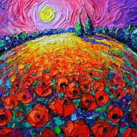 POPPIES ROUNDSCAPE MYSTIC NIGHT textural impressionist impasto knife oil painting Ana Maria Edulescu by Ana Maria Edulescu