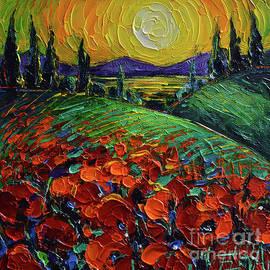 Poppyscape Sunset - Impasto Palette Knife Acrylic Painting Mona Edulesco by Mona Edulesco