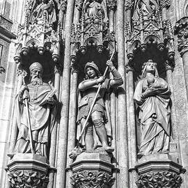 Portal Cathedral Zagreb Croatia Detail Black And White by Jasna Dragun