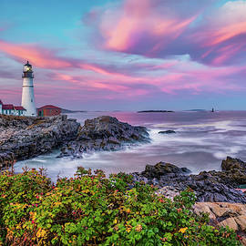 Portland Head Light at Sunset - Cape Elizabeth Maine by Gregory Ballos