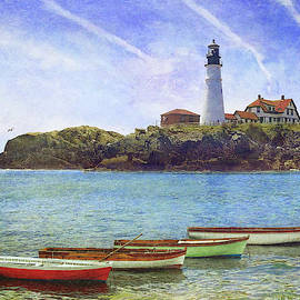 Portland Head Light With Rowboats by R christopher Vest