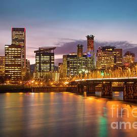 Portland Skyline Twilight by Brian Jannsen