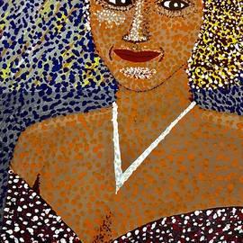 Portrait Of Serena In Pointillism Art by Jeffrey Koss