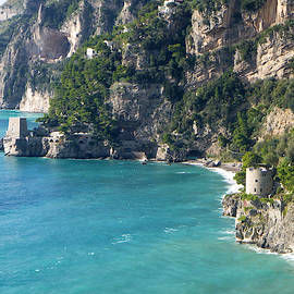 Positano Coast and Medieval Towers by Lary Peterson