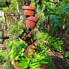 Potted Plant Garden Sculpture  by Denise Mazzocco