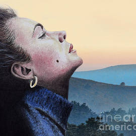 Profile Portrait Of Liz Taylor At Sunset by Jim Fitzpatrick