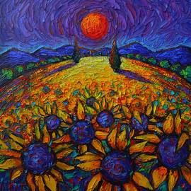 PROVENCE COLORFUL NIGHT sunflowers abstract landscape impasto knife oil painting Ana Maria Edulescu by Ana Maria Edulescu