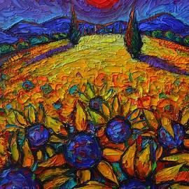 PROVENCE NIGHT MOON OVER SUNFLOWERS FIELD textural impasto knife oil painting Ana Maria Edulescu by Ana Maria Edulescu