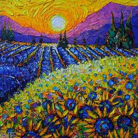 PROVENCE SUNRISE COLORS sunflowers and lavender fields impasto knife oil painting Ana Maria Edulescu by Ana Maria Edulescu