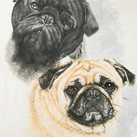 Pug Brothers in Watercolor by Barbara Keith