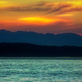 Puget Sound Sunset Colorful by Cathy Anderson