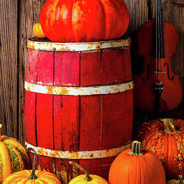 Pumpkin On Old Red Barrel by Garry Gay