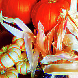 Pumpkins And Indian Corn