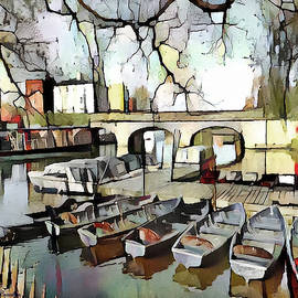 Punting on the Thames - Watercolour by Pennie McCracken
