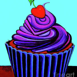 Purple Cupcake With Cherry by Genevieve Esson
