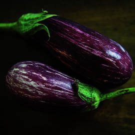 Purple Eggplants Square Print by Cassi Moghan