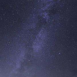 Purple Vertorama of the Milky-Way at Glacier National Park  by David Farlow