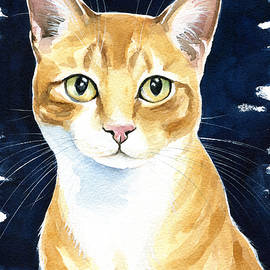 Puss In Boots Ginger Cat Painting by Dora Hathazi Mendes