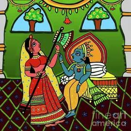 Radha  Krishna Phad Style by Latha Gokuldas Panicker