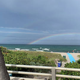 Rainbow At Beach 2 by Karen Zuk Rosenblatt