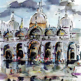 Rainy Day In Venice Piazza San Marco by Ginette Callaway
