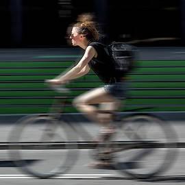 Random Cyclist No 1 Color Blur Version by Brian Carson