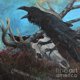 Raven on the barrens  by Joe Rizzo