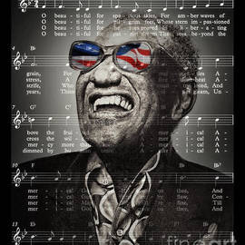 Ray Charles Singing America the Beautiful  by Jim Fitzpatrick