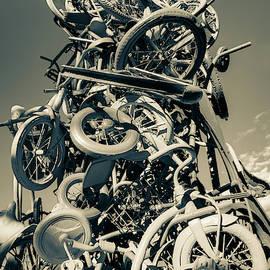 Razorback Greenway Bike Tower Statue - Northwest Arkansas Sepia by Gregory Ballos