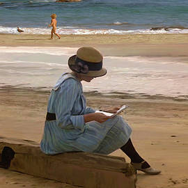 Reading a letter on the beach by Dominique Amendola