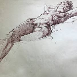 Reclining Nude in pen and Ink by Mark Millicent