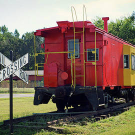 Red And Yellow Caboose At Nassawadox by Bill Swartwout Photography