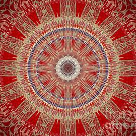 Red Antique Gold Mandala by Sheila Wenzel