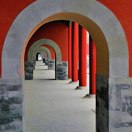 Red Arches Inside The Forbidden City, Beijing, China by Leslie Struxness
