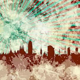 Red Barcelona Skyline by Alberto RuiZ