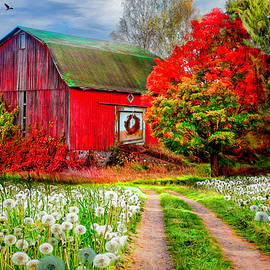Red Barn in Early Autumn  by Debra and Dave Vanderlaan