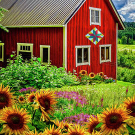 Red Barn in Summer Sunflowers by Debra and Dave Vanderlaan