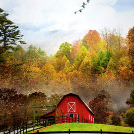Red Barn in the Mist by Debra and Dave Vanderlaan